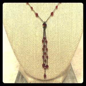 1928 Red Beaded Lariat Necklace